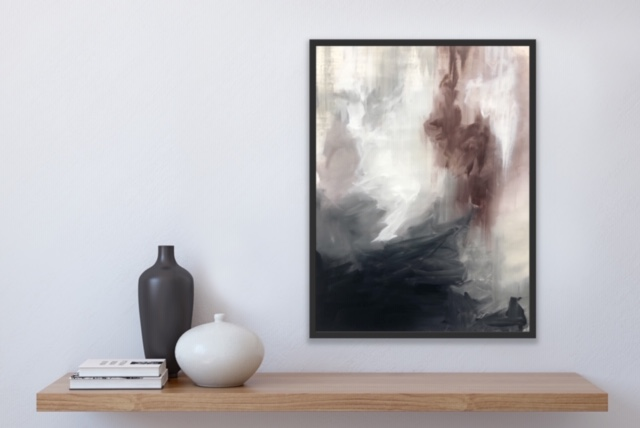 Tempest piece on display above shelf