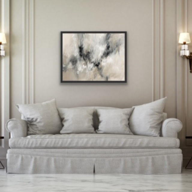 Cosy Storm artwork on display above sofa