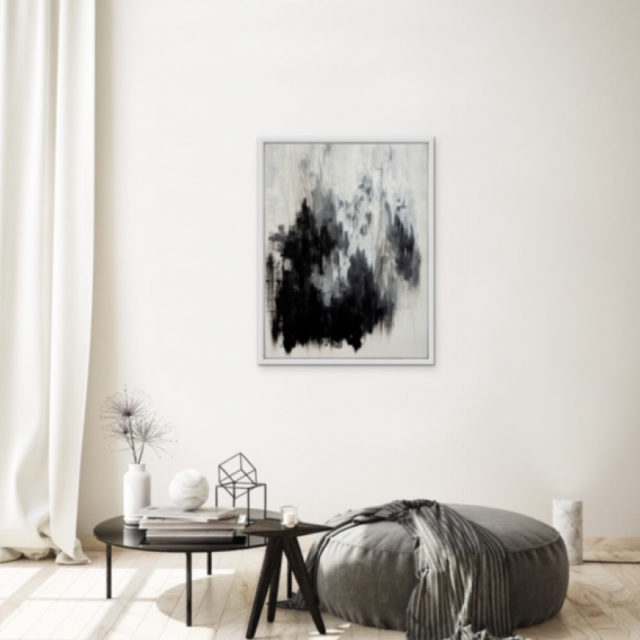 Grey matter artwork on display in living area